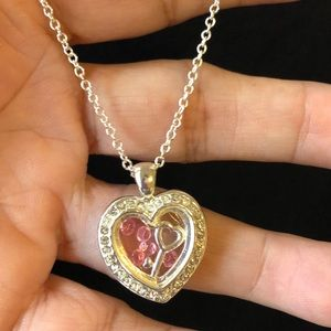 HEART CHARM WITH SILVER CHAIN THE KEY OF MY HEART!